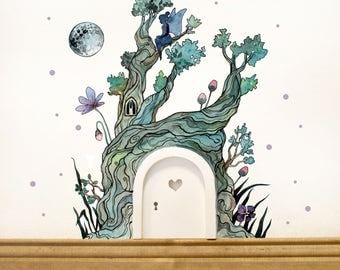 IMP door Elf door wall sticker fairy door fee and magical fairies tree E06