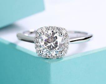 Forever ONE Moissanite Engagement Ring Cushion cut White Gold Halo diamond set Cluster Ring women Gift for mom Promise Bridal anniversary