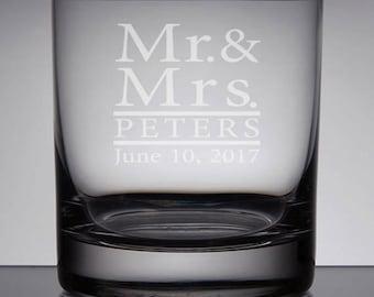 Custom Whiskey Glass, Wedding Rocks Glass, Personalized Bourbon Glass, Gifts for Couple, Sandblasted Glass, Custom Wedding Gift, Engraved