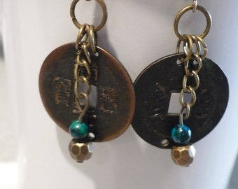 Earring/vintage coin/bronze/Christmas/Birthday/gift/glass beads