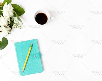 SET OF TWO: BLue Notebook with Coffee