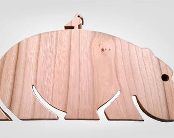 Solid Oak Hippo & Bird Silhouette