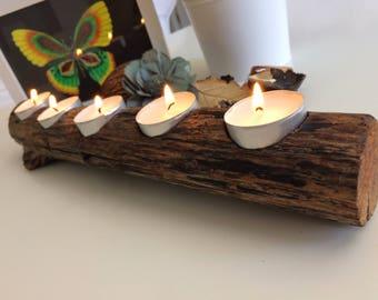Andalusian driftwood centrepiece candleholder, handmade.