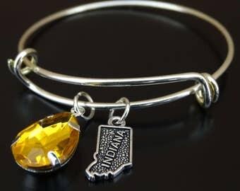 Indiana Bracelet, Indiana Bangle, Indiana Charm, Indiana Pendant, Indiana Jewelry, Indiana State Bracelet, Indiana State Jewelry,Indiana Map