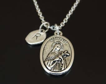 Saint Therese Necklace, Saint Therese Charm, Saint Therese Pendant, Saint Therese Jewelry, St Therese Necklace, Christian Necklace,Religious