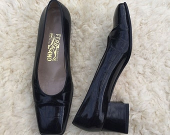 Stunning Vintage Salvatore Ferragamo Block Heel Shoes