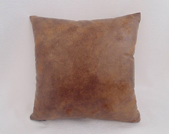 Light Brown Distressed Faux Leather-like  Pillow Cover,Decorative Throw Pillow Cover,zippered pillow