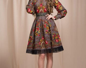 Gray Boho dress, Floral summer dress, floral gypsy Dress, bohemian dress, boho chic, boho dress, summer dress midi, boho dress, prom dress