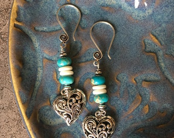 Silver and turquoise heart earrings