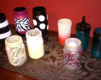 Decorative Mason Jars- custom colors and prints