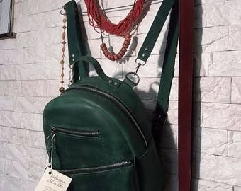 Handmade Leather Women Backpack/ small city vintage rucksack green