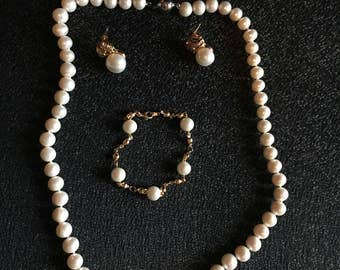 Pink Cultured Pearls Set, Necklace, Earrings, and Bracelet