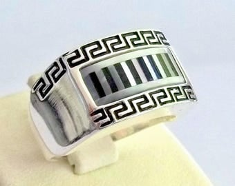 925 Sterling Silver Men's Ring with Totally Handmade Real Precious Mother of Pearl