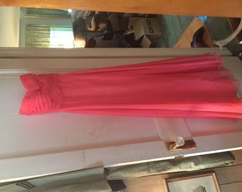 Vintage 1960s Pink Chiffon Evening Gown Size 0/2 Modern 6 Vintage