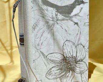 Whimsical Bird - Grey Handbound Journal - Bookmark with Lampwork Bead, Custom Envelopes