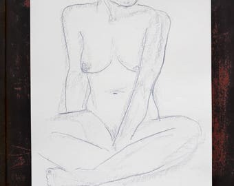 "Original drawing of Act of ""Sitting"" / nude art / pastel chalk"