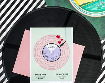 Record Player Save the Date Printable
