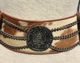 Vintage Argentinan coin western brown/white cowhide belt