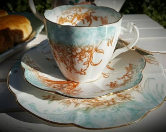 Stunning Early Shelley, Wileman Kensington, Lilly Shape China Tea Cup Trio