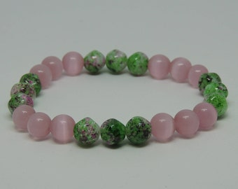 Bracelet, Pink and Green Beads,  Stretch Bracelet