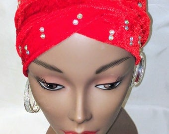 Turban With 2 Stoned Hands (Red)