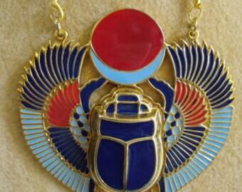 Scarab Brass Necklace Pendant Jewelry XL Enameled Egyptian Handmade Pharaoh - Egyptian Scarab Pendant Necklace - Scarab Necklace Pendant