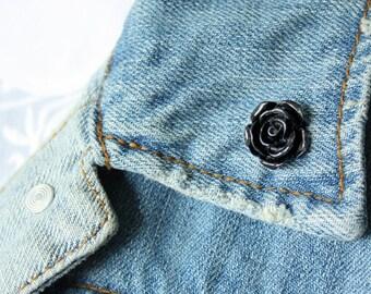 Black Rose Lapel Pin (small)