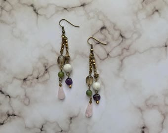 Multi color beaded dangle earring