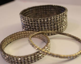 BRACELET SET Faux Diamonds 3 Bracelets