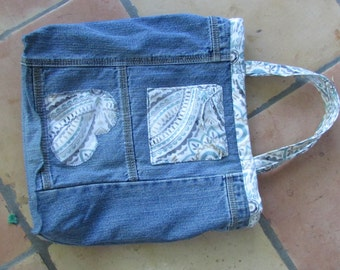 Recycled Denim shopping bag, hand bag,  with beautiful inner lining and interior pocket