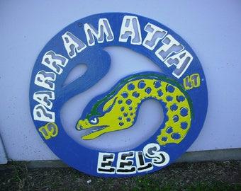 Parramatta Eels Hand Painted Metal Emblem