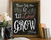 Sign, Decor, PRINTABLE, Weddings, Bridal Shower, Baby Shower, Please Take One, Flowers, Seeds, Plants, Favors, Favours, Digital, Instant