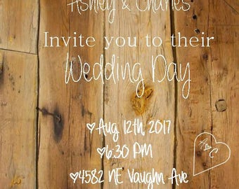 Barn Wood Wedding Invite (Digital File only)