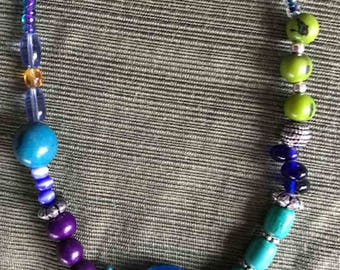 Boho glass bead necklace
