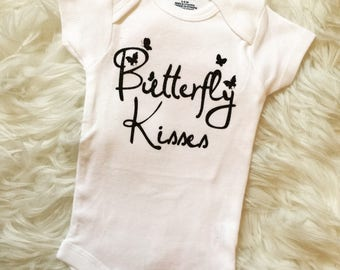 Butterfly Kisses Onesie, Baby Gift, Baby Shower, Baby Girl, Custom Onesie
