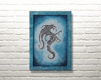 Mystical Dragon | Fanasy framed mural | Mixed media image 20 x 30 cm
