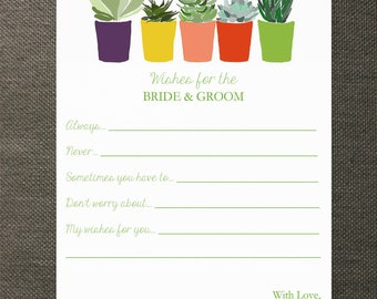 Succulent Wedding Wishes Cards - Perfect for Weddings, Bridal Showers, and Rehearsal Dinners
