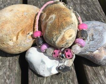 Silver & Pink European Charm Bracelet For New Mum, Pink Leatherette Braid Bracelet, Pandora Style, Mum Charm, Gift For Mum, New Mum Gift