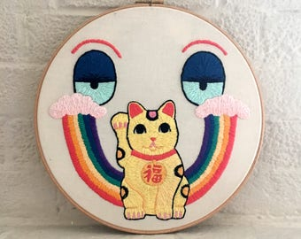 Lucky Cat Face - embroidery hoop