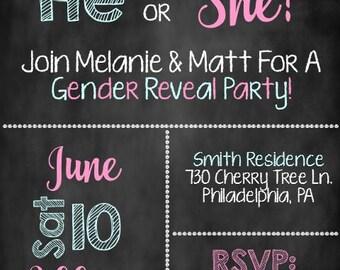 He or She Gender Reveal Invite, Gender Reveal Party, Gender Reveal Invitation