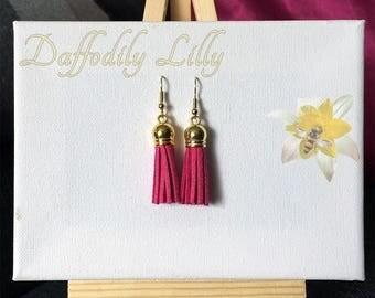 Suede Tassel Earrings Fuchsia