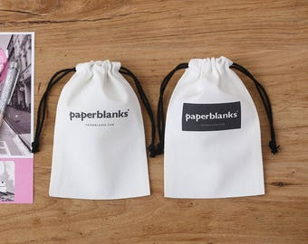 Custom white bag cotton canvas drawstring pouch personalized LOGO printed gift packaging cosmetic bag jewelry packaging bag 12-Pack