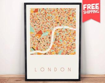 London map, London Print, London Poster, London Wall Art, London Gift, Map Art, Map Print, United Kingdom, Colorful map, Miminalist map