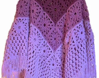 Daisy Granny Square Poncho, Women's Poncho, Crochet Poncho Pattern