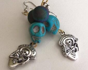 Day of the dead earrings in blue
