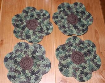 Handmade Crochet Dishcloths - 100% Cotton, Camouflage Flowers (set of 4)