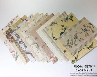 Designer Wallpaper Sample Pack - Wallpaper Sheets for Scrapbooking and Cardmaking - Eclectic Shabby Chic Mix