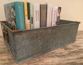 Vintage Industrial Metal Storage Tray Planter