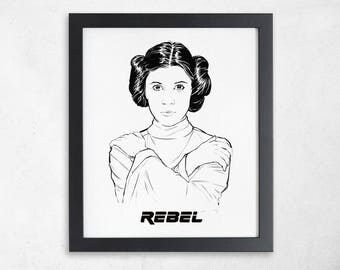 Princess Leia Print in Black and White, Feminist Art Print, Carrie Fisher, Leia Organa, Star Wars Posters, Minimalist Art Print