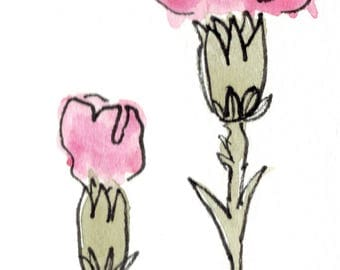 Carnations Floral Watercolor